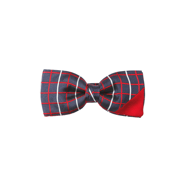 A pre-tied bowtie weaving an elegant checked navy silk with red and white lines, combined with a matt cherry colored silk.