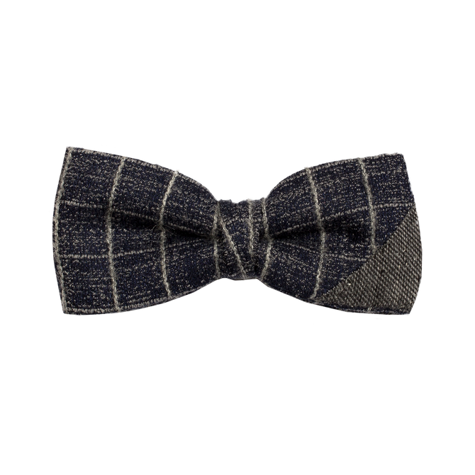 Two-piece bowtie combining a warm blue fabric with a gridded silver pattern, and a textured gray fabric.