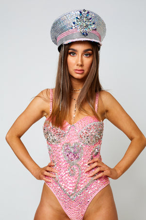 pink beaded sequin handmade festival fashion bodysuit edc coachella doof rave
