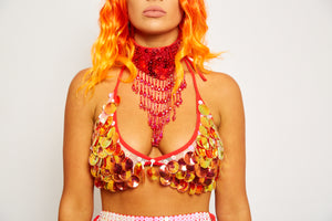 Sequin red orange beaded embellished bra bikini crop top festival fashion style dance wear Coachella splendour in the grass EDC rave doof