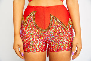 Sequin red gold carnival shorts tights undies briefs bottoms rhinestone diamond jeweled bloomers beaded embellished festival fashion dance wear Coachella splendour in the grass EDC rave doof