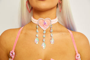 Love heart diamond rhinestone pink choker necklace sequin festival fashion doof rave edc burning man coachella