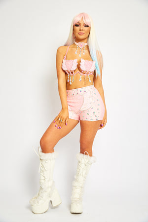 Sequin pastel carnival shorts pink white heart love wings tights undies briefs bottoms rhinestone diamond jeweled bloomers beaded embellished festival fashion dance wear Coachella splendour in the grass EDC rave doof girly