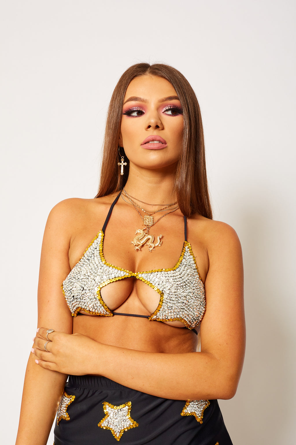 majestic hand sequin star bra festival set rave fashion unqiue clothing