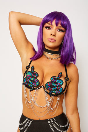 snake bra carnival bra chain bikini black diamond blue red festival top festival fashion style rave EDC coachella