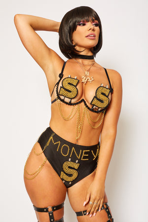 dollar sign money bloomer shorts pants gold black silver stripper festival set fashion EDC Burning man coachella