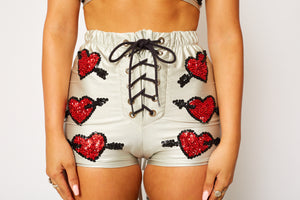 Red silver heart love handmade hand sequinned festival fashion shorts lace up EDC burningman splandour in the grass