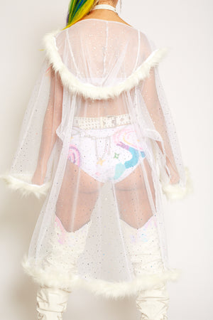White sequin fur fluffy kimono jacket festival outfit fashion doof rave