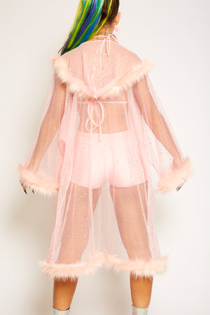 pink sequin fur fluffy kimono jacket festival outfit fashion doof rave