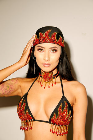 flame bra,  fire, saucy, blazin, co-ord set, festival set, doof, edc, hot
