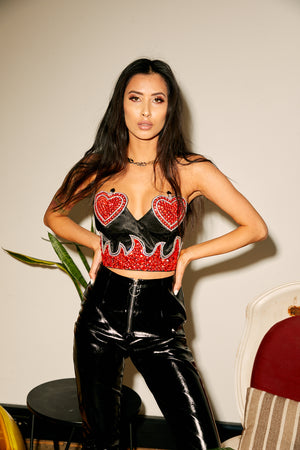 bustier, heart, flame, red, crop top, party, halloween, doof, burning man, festival fashion, edc