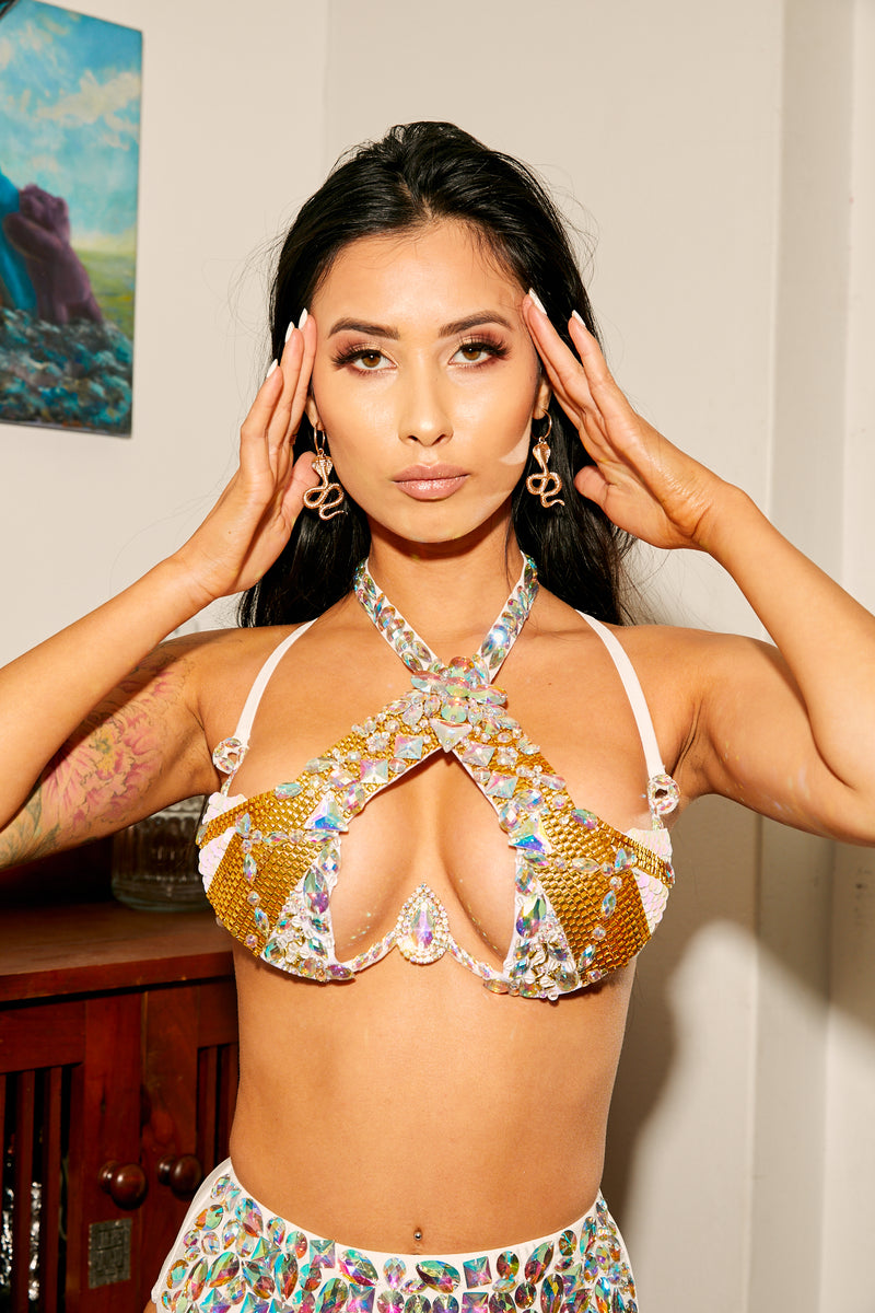 carnival, bra, top, gold, silver, diamond, festival, edc, Halloween, costume, crystal