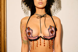 carnival, bra, top, cowboy, cowgirl, pink, diamond festival, edc, Halloween, costume