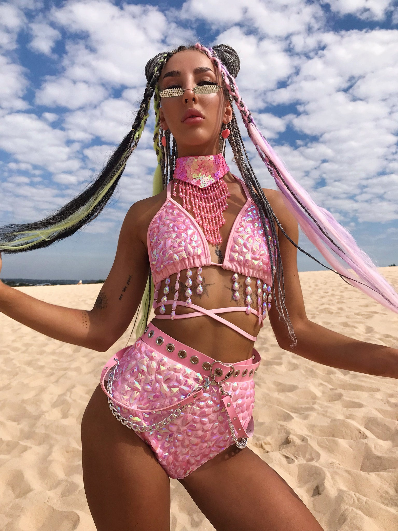 pink candy gem rhinestone festival fashion set bra bikini bloomer hotpants edc rave doof coachella
