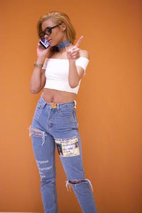 '-cide denim high waisted denim pants