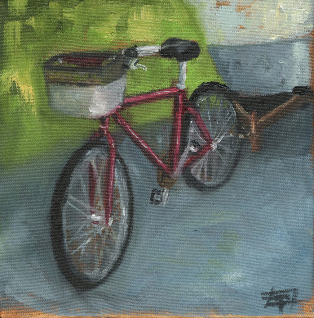 "Palmetto Bay Bike, 8"" x 8"" Framed Oil on Canvas"