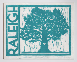 "City of Oaks, 8"" x 10"" Limited Edition Handmade Linoleum Print, Aqua Ink"