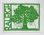 "City of Oaks, 8"" x 10"" Limited Edition Handmade Linoleum Print, Green Ink"
