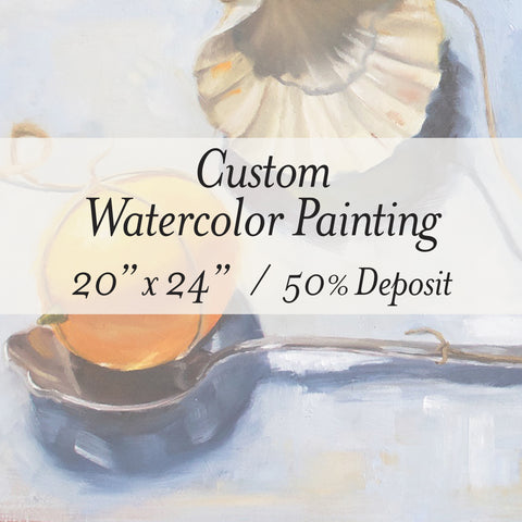 "****SALE 25% OFF**** 20"" x 24"" Custom Painting, Watercolor Mounted on Panel"
