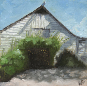 "Fearrington Barn, 8"" x 8"" Framed Oil on Canvas"