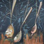 "Spoons, 22"" x 30"" Oil with Gold Metal Leaf on Cradled Birch Wood Panel"