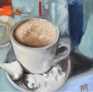 "Postcards Series #13, Mocha and Beignets, 6"" x 6"" Oil on Panel with .5"" sealed, natural wood sides"