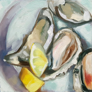 "Oyster Roast, 6"" x 6"" Oil painting on Panel with sealed natural wood 2"" sides"