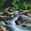 "Rocks in River, 6"" x 6"" Oil painting with sealed natural wood 2"" sides"