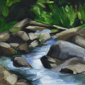 "Postcards Series #15, Rocks in River, 6"" x 6"" Oil painting with sealed natural wood 2"" sides"