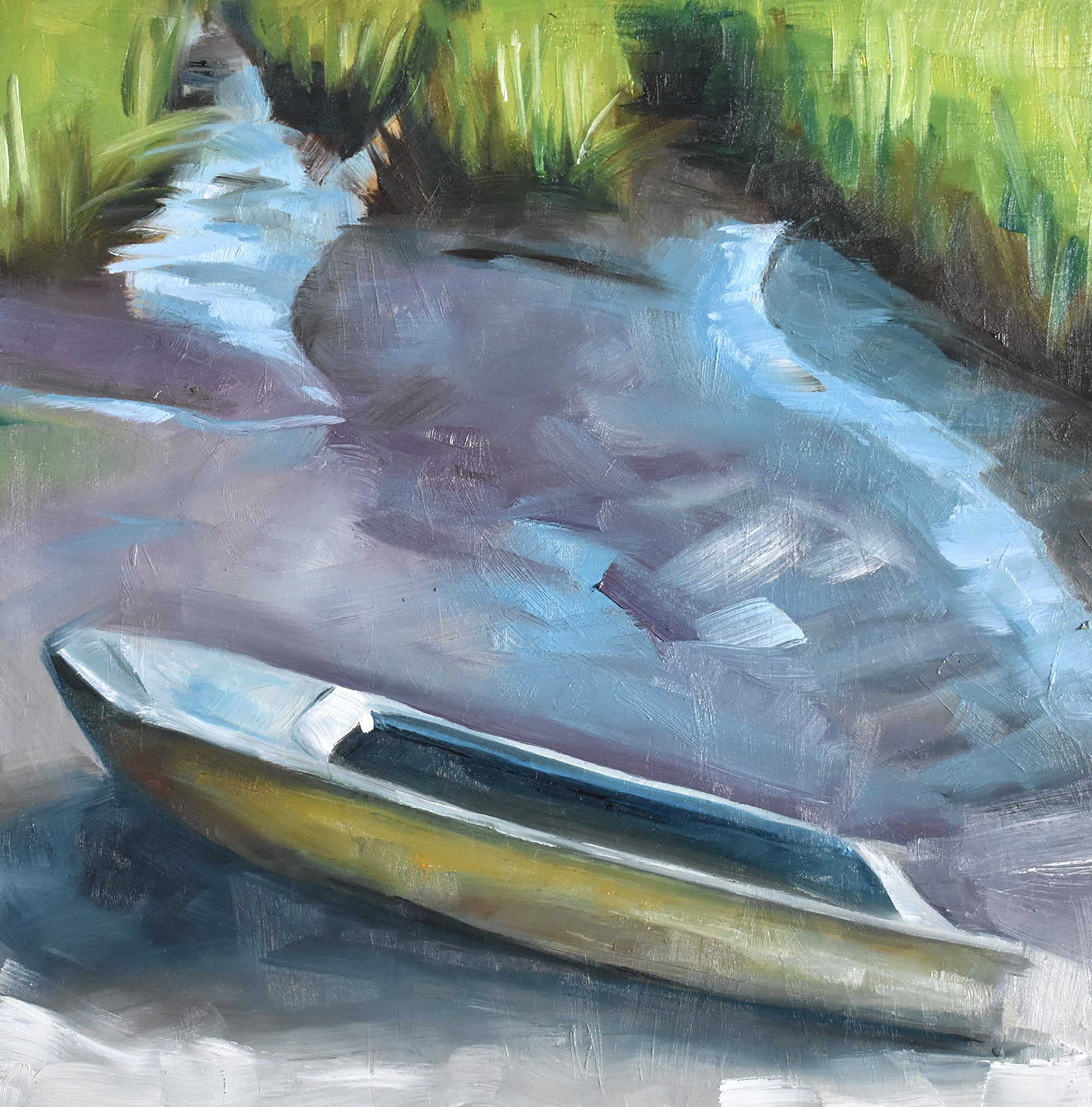 "Postcards Series #12, Skiff in Marsh, 10"" x10"" Oil on Panel with 2"" stained wood sides"
