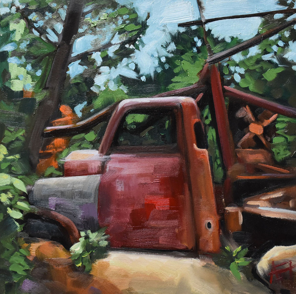 "Mining Truck, 10"" x10"" Oil on Panel with 2"" stained wood sides"