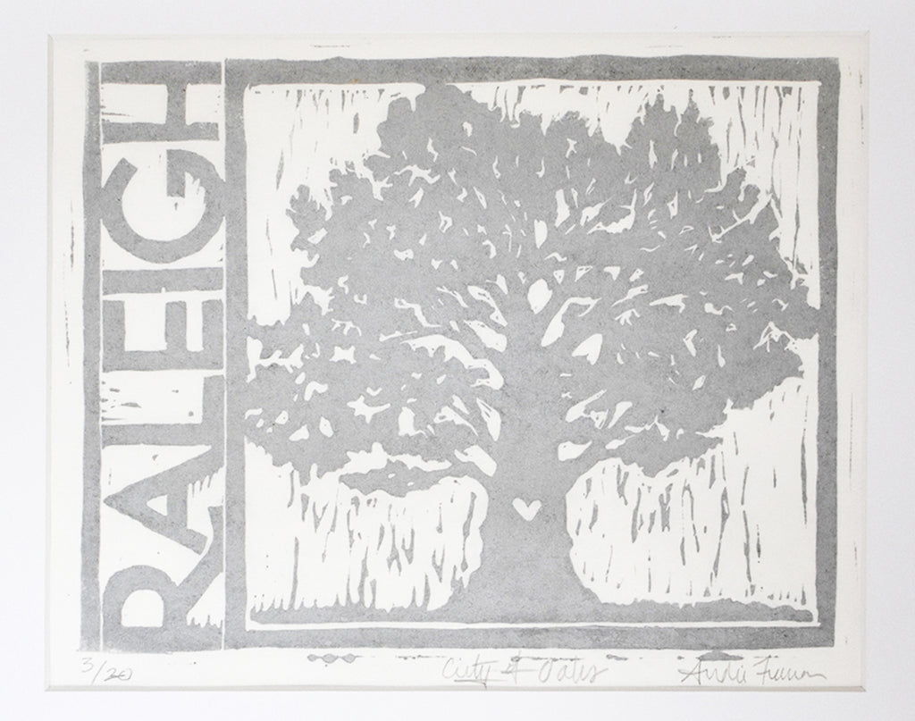 "City of Oaks, 8"" x 10"" Limited Edition Handmade Linoleum Print, Silver Ink"