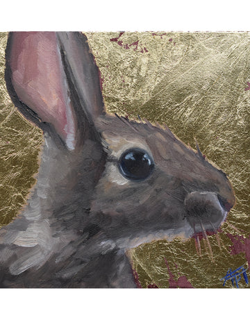 Day One, Sweet Bunny with Gold Metal Leafing - Nigel the bunny