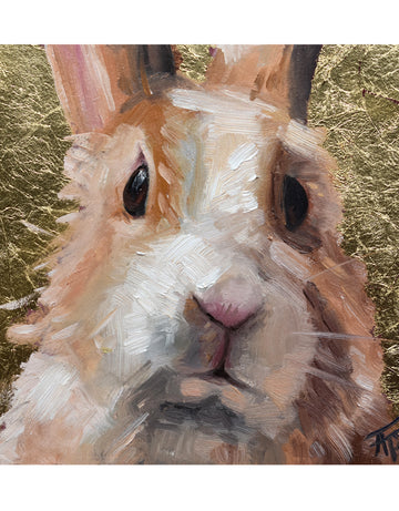Day Four, Sweet Bunny with Gold Metal Leafing - Cecilia the bunny