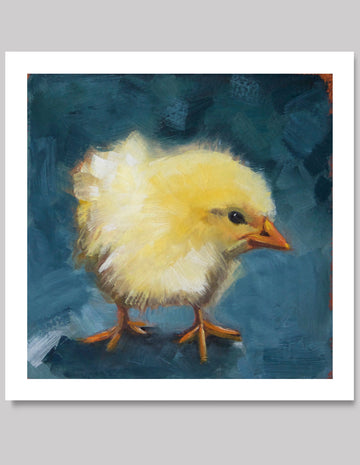 Simon, Yellow Chick with teal, Beautiful Limited Edition Giclee Print 7