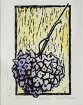 "Lilac and Yellow High Wire, 6"" x 9"" Limited Edition Handmade Linoleum Print on Original Watercolor"