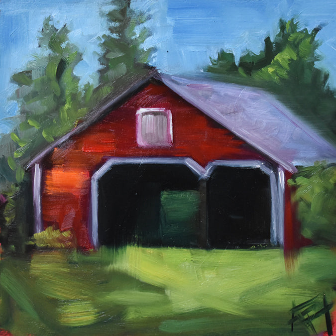"Postcard Series #8, Rustic Barn, 8"" x 8"" Oil on Panel"