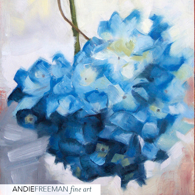 Beautiful contemporary oil painting of hydrangea, blue and white brilliant flowers make great gift, living room art, small affordable art