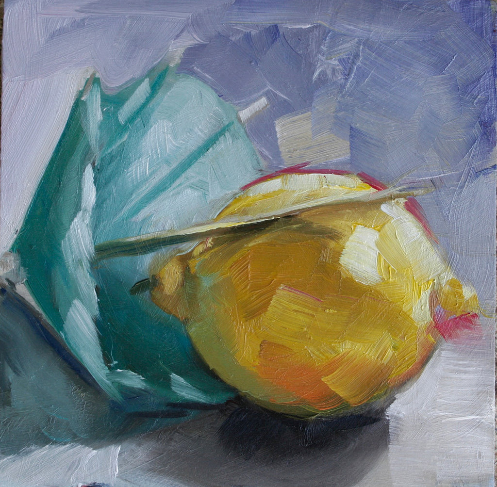 "Time for Lemonade, 5"" x 5"" expressive oil painting"