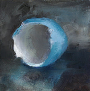 "Robbins' Egg Oil Painting, 5"" x 5"" contemporary oil painting on box panel with blue and cream - Andie Freeman"