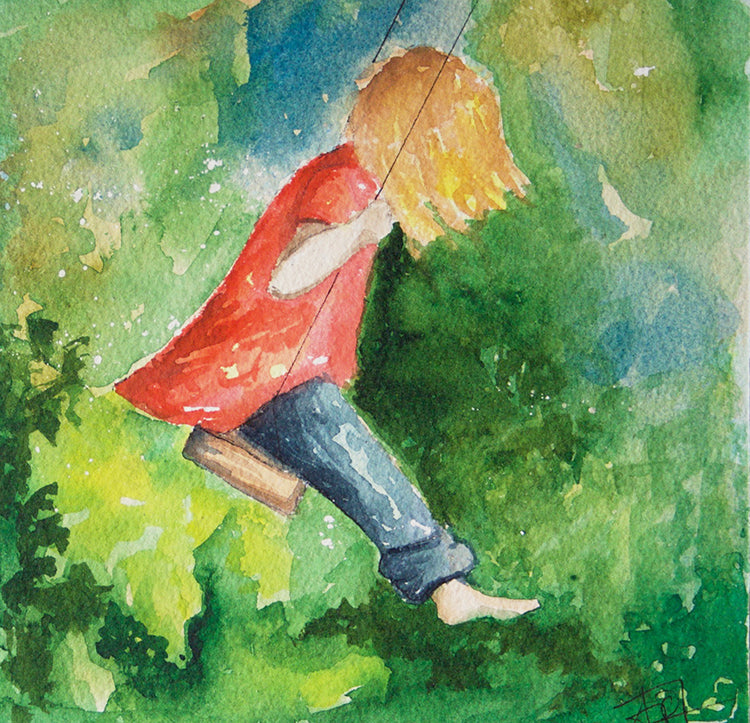 "Swinging Watercolor Painting of Little Girl on Swing with Green, Mounted on 6"" x 6"" box panel"