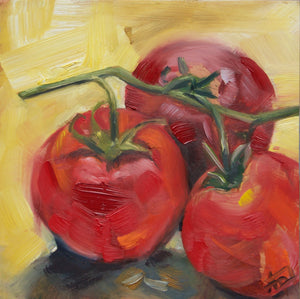 "Tomatoes, 6"" x 6"" x 2"" Oil on Cradled Panel"