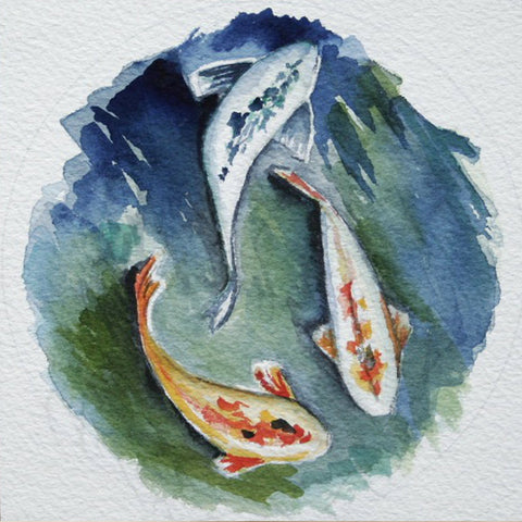 "Watercolor Koi Painting, 5"" x 5"" paper mounted on box panel"