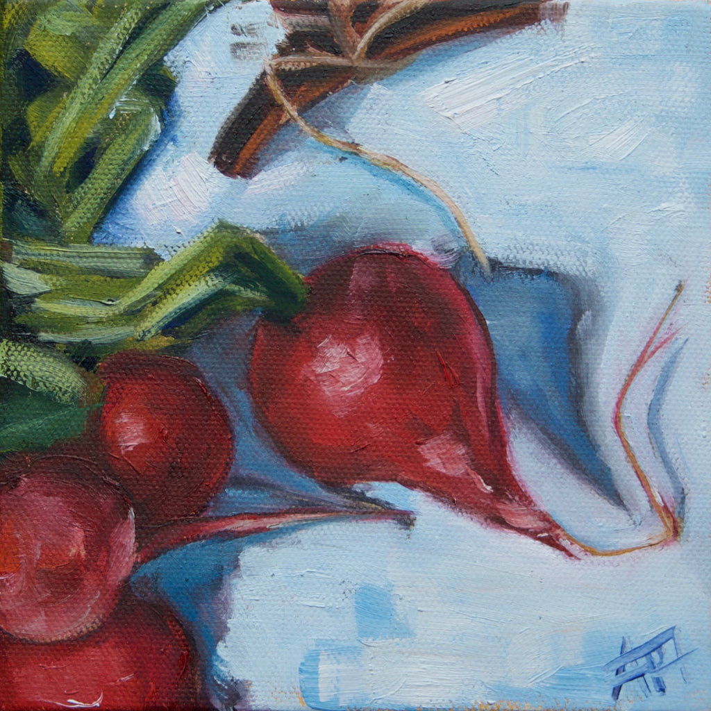 "Little Radishes, 6"" x 6"" oil painting on stretched canvas"