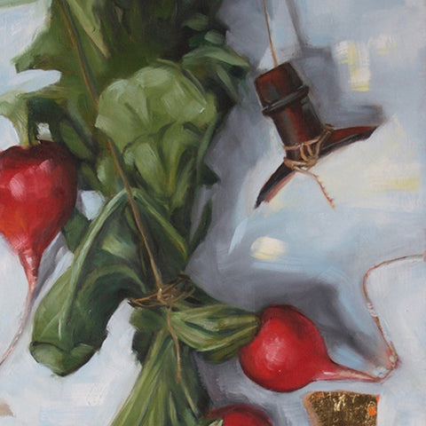 "Picnic, 10"" x 30"" Oil on Panel, Available at City Art Gallery"