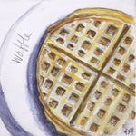 watercolor waffle painting on wood panel, food art, stranger things art, fun kitchen, kitch art, affordable art