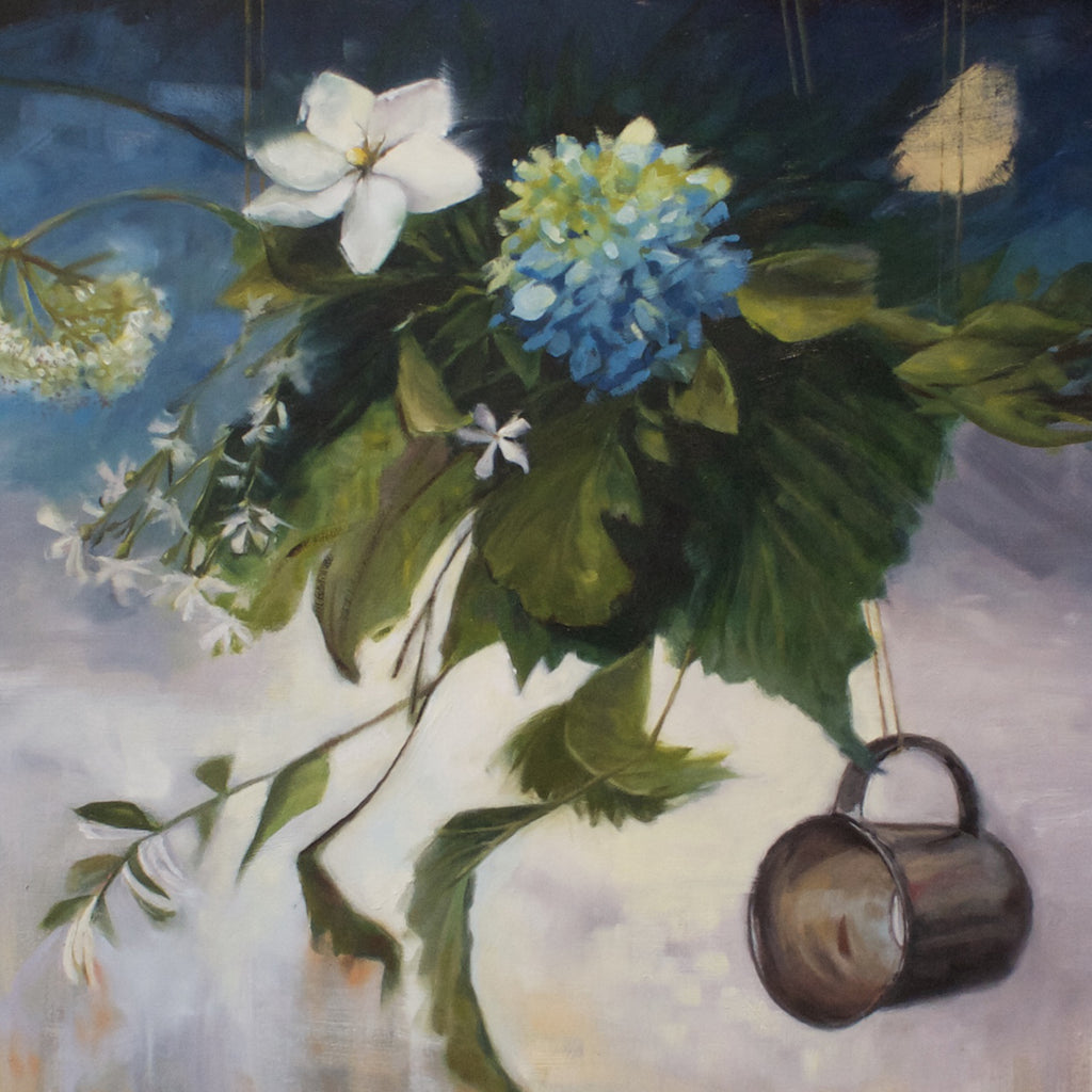 "Wedding Bouquet No. 1, 24"" x 48"" x 2"" Oil painting on cradled birch wood panel with stained sides - Andie Freeman"