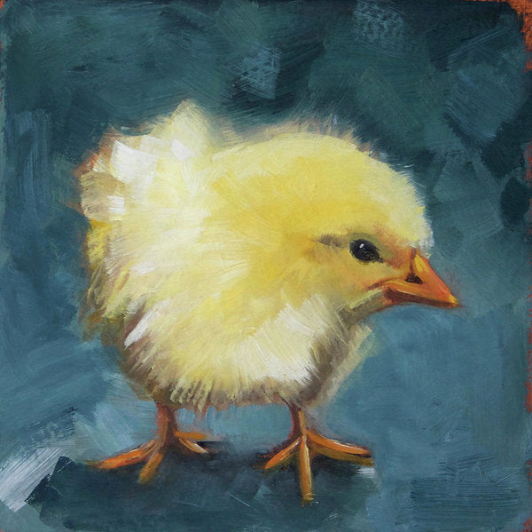 Yellow Chick On Green - Art Print