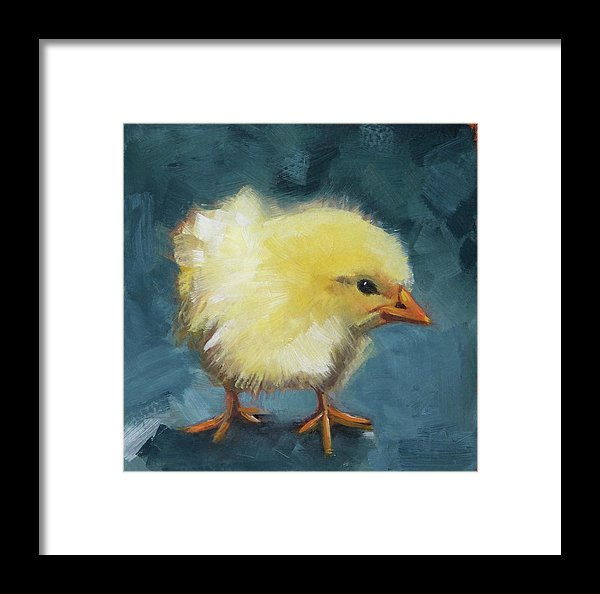 Yellow Chick On Green - Framed Print