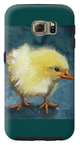 Yellow Chick On Teal - Phone Case